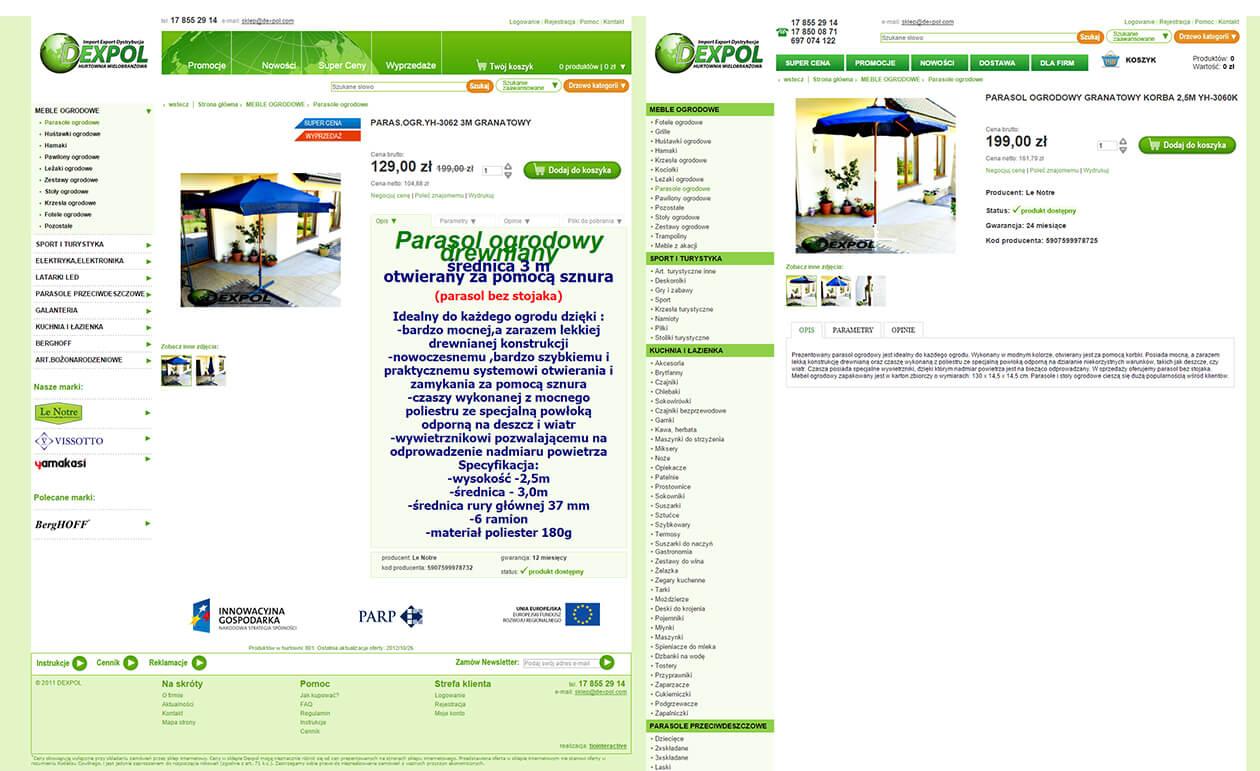 Karta produktu sklep Dexpol przed i po zmianie zawartości