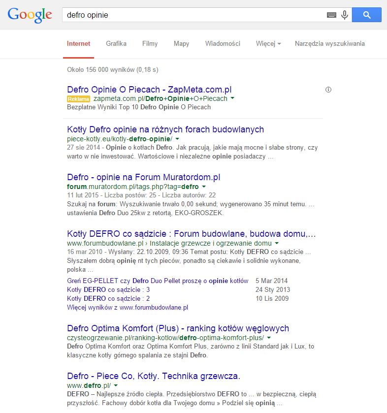 Blog Defro na pierwszej stronie w GOOGLE na frazę defro opinie