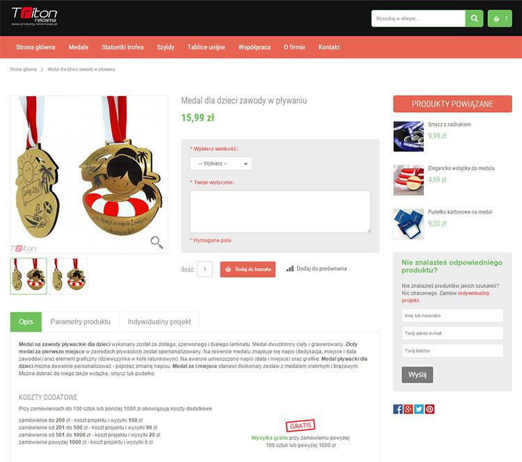 Karta produktu Medal dla dzieci sklep Magento