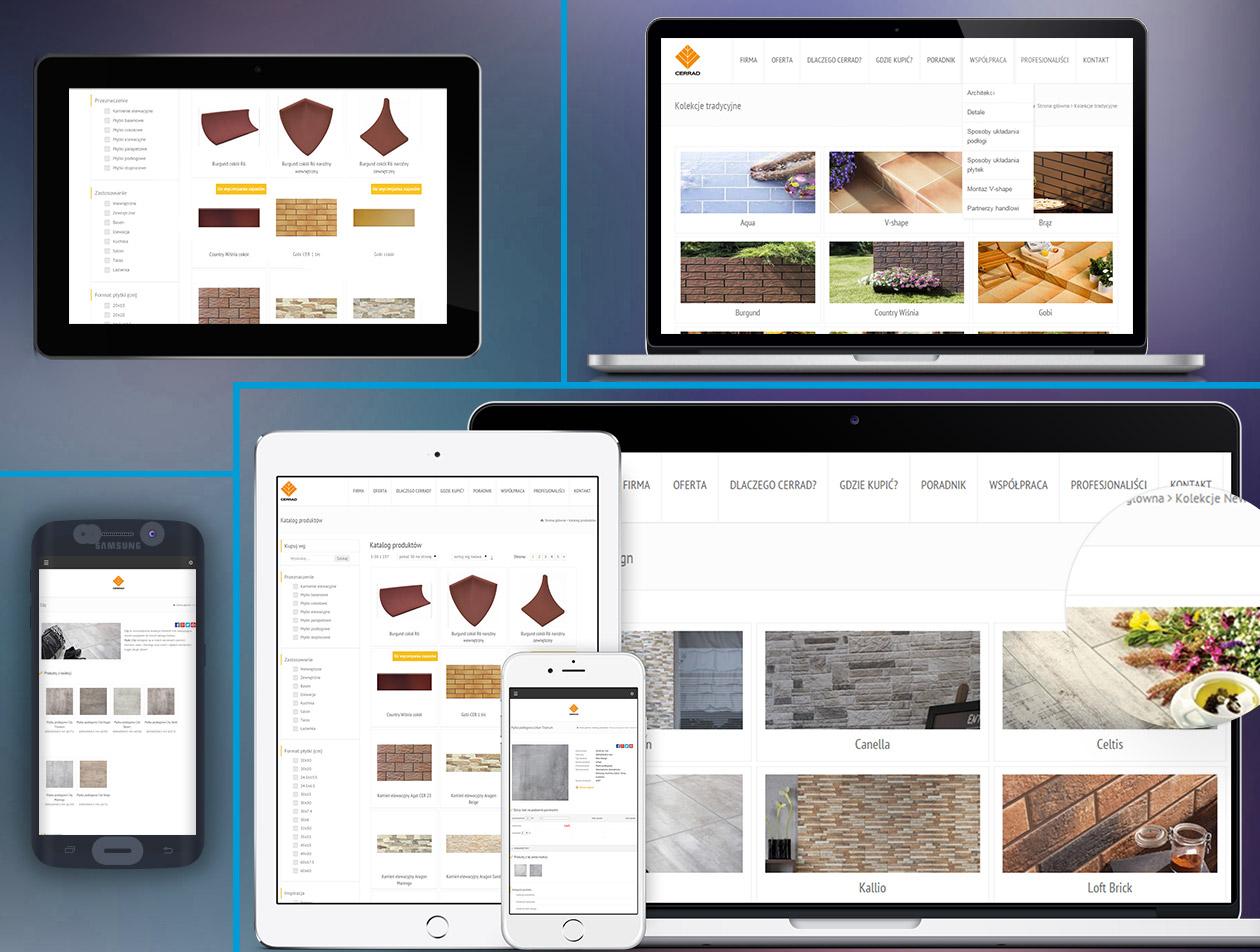 Strona firmowa Cerrad na laptopie, smartfonie, tablecie