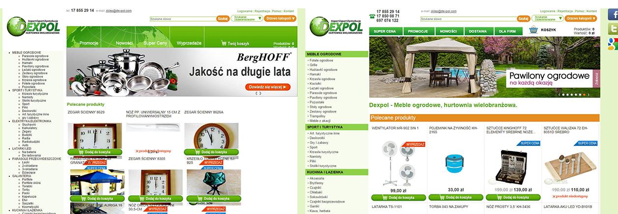 Strona główna sklepu Dexpol przed i po zmianie contentu