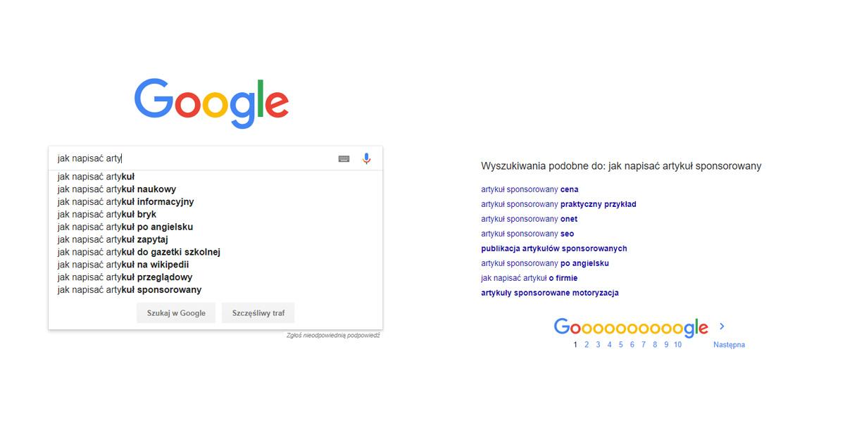Google Auto Suggest screen wyszukiwania